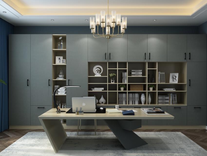 极简风格书柜书桌066
