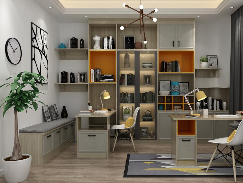 后现代风格书柜书桌31