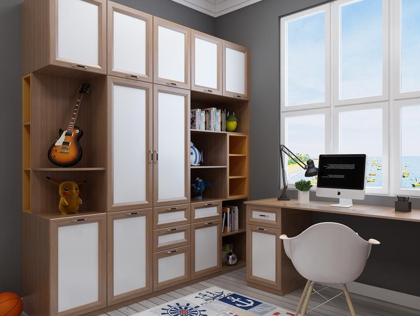 极简风格书柜书桌42